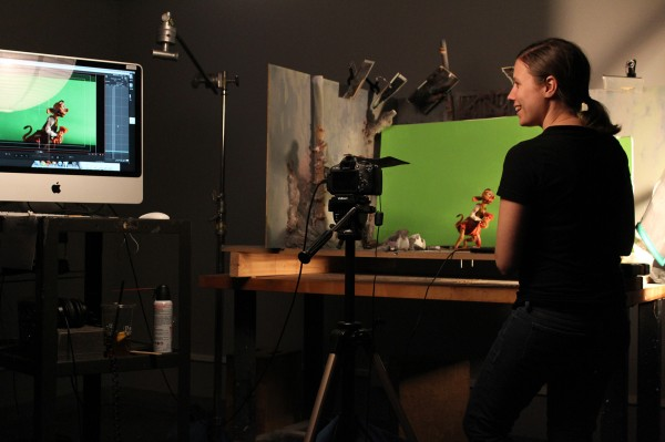 Student Sam Willson in the college's animation studio.
