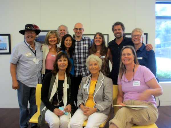 From left, seated; Bluebelt Coalition members Jinger Wallace, Charlotte Masarik, Sandy Dildine; standing, exhibiting photographers David Linnig, Judy Teverbaugh, Lindy Yow, Michael Zeigler, Bonnie Pelnar, Dan Stensland and Patsee Ober; rear, Bluebelt member Mike Beanan.