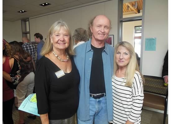 From left, Carole Zavala, Susi Q Senior Center interim program director with Festival of Arts Foundation board president Scott Moore and his wife Carol at a recent exhibition reception.